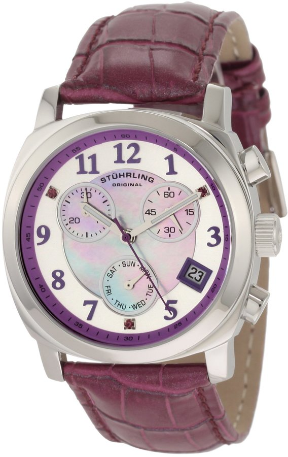 Stuhrling Original Women's 246.1115Q78 Lifestyles Collection Fiorenza Swarovski Crystal Mother-Of-Pearl Day and Date Watch