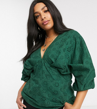 ASOS DESIGN Curve v neck top in broderie with ruched volume sleeve