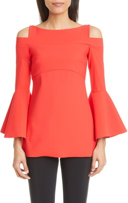 Chiara Boni Zandra Cold Shoulder Long Bell Sleeve Top