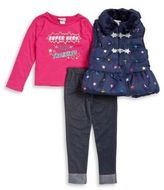 Little Lass Little Girl's Three-Piece Faux Fur-Trimmed Vest, Printed Top and Leggings Set