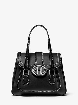 Michael Kors Monogramme Medium Leather Satchel - Black