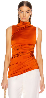 Monse Sleeveless Double Layer Twisted Top in Rust   FWRD