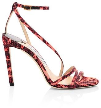 Jimmy Choo Tesca Snakeskin-Embossed Sandals