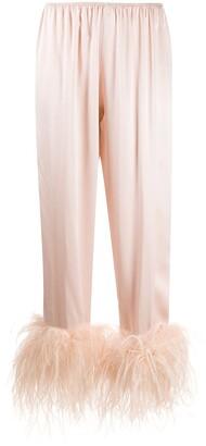 Gilda & Pearl Mia feather-trimmed pyjama bottoms