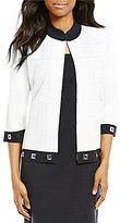 Ming Wang Mandarin Collar 3/4 Sleeve Grommet Jacket