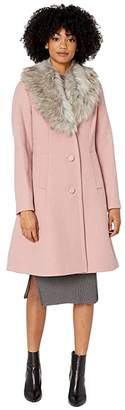 Kate Spade Single Breasted Faux Fur Collar Wool Coat (Soft Peony) Women's Clothing