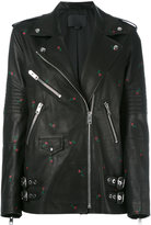 Alexander Wang rose stamped biker jacket - women - Leather/Polyester - 2