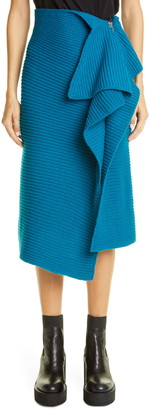Sacai Rib Asymmetrical Drape Wool Blend Skirt