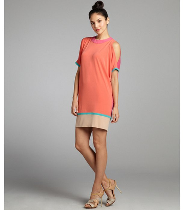 Donna Morgan coral and fuchsia jersey knit colorblocked cutout dress