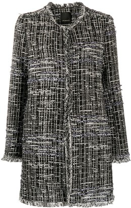 Pinko Collarless Tweed Coat