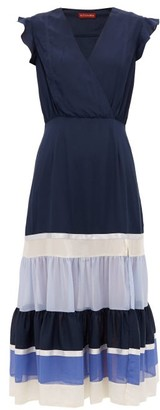 Altuzarra Judy Tiered-hem Crepe Dress - Womens - Blue Multi
