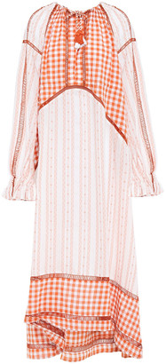 Dodo Bar Or Regina Gingham Cotton-gauze And Jacquard Maxi Dress