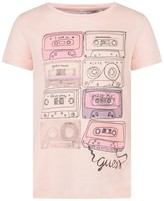 GUESS Peach Cassette Print Top With Floral Back