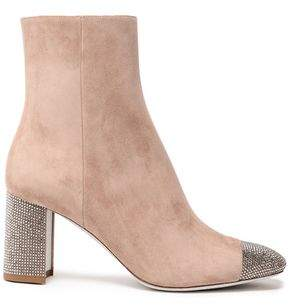 Rene Caovilla Rene' Caovilla Crystal-embellished Suede Ankle Boots
