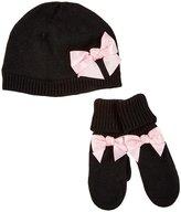 Kate Spade Bow Hat & Mitten Set (Toddler)- Black-3T