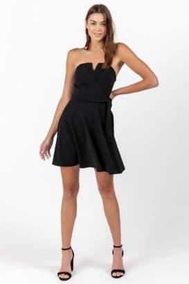 francesca's Edith Strapless Fit & Flare Dress - Black
