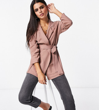 ASOS DESIGN Petite jersey wrap suit blazer in blush