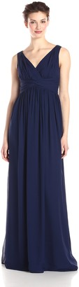Donna Morgan Women's Julie Long Bra Friendly Chiffon Dress