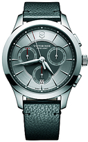 Victorinox 241748 Alliance Chronograph Day Date Leather Strap Watch, Black/silver