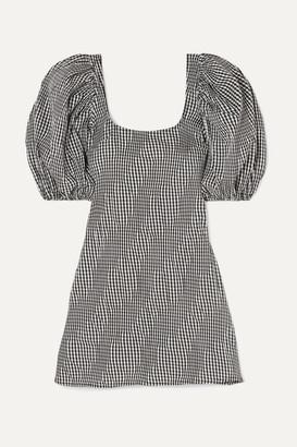 Georgia Alice Famous Ruched Gingham Cotton-blend Poplin Mini Dress - Black