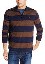 U.S. Polo Assn. Men's Striped Rib Mock Neck 1/4 Zip Pullover