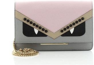 Fendi Monster Wallet on Chain Studded Leather