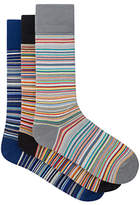 Paul Smith Signature Stripe Cotton Socks, One Size, Pack Of 3, Blue/orange/grey