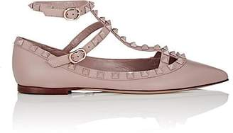 Valentino Garavani Women's Rockstud Leather Ankle-Strap Flats - Nudeflesh