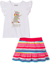 Juicy Couture Girls' Casual Shorts 2102 - White & Gold Glitter Puppy Angel-Sleeve Skort Set - Infant, Toddler & Girls