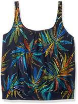 Penbrooke Women's Plus Size Tropical Fiesta Shirred Neck Blouson Tankini