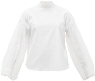 Noir Kei Ninomiya Tulle-sleeve Cotton-poplin Shirt - Womens - White