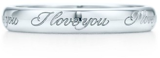 "Tiffany & Co. & Co. NotesTM ""I Love You"" band ring in platinum"