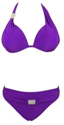 Beachjoy Bikini Swimsuit Two Pieces Swimwear, Halter Top with Diamond Accessories, Satin Look, Red Size L