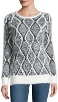 Neiman Marcus Feather-Yarn Long-Sleeve Sweater, Medium Gray