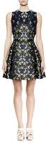 Alexander McQueen Sleeveless Fit-&-Flare Floral-Print Dress, Navy