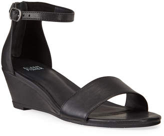 Eileen Fisher Mara Leather Ankle-Strap Wedge Sandals