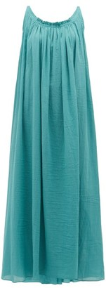 Loup Charmant Gathered Scoop-back Cotton-poplin Maxi Dress - Womens - Blue