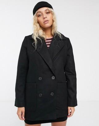 Monki longline double breasted coat-Black