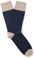 Corgi - Colour-block Wool And Cotton-blend Socks