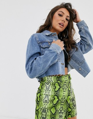 Asos Design DESIGN denim cropped girlfriend jacket in stonewash blue