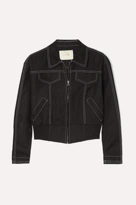 Maje Cropped Cotton-blend Bomber Jacket - Black