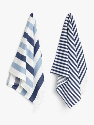 John Lewis & Partners Coastal Striped Tea Towels, Pack of 2, Blue