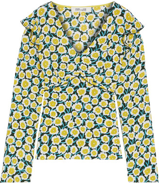 Diane von Furstenberg Charlie Ruffled Floral-print Silk Crepe De Chine Blouse