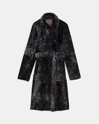 Theory Double-Breasted Trench Coat in Shearling