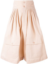 Chloé flared shorts - women - Cotton/Linen/Flax - 36