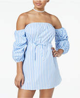 Speechless Juniors' Striped Off-The-Shoulder Bubble-Sleeved Dress