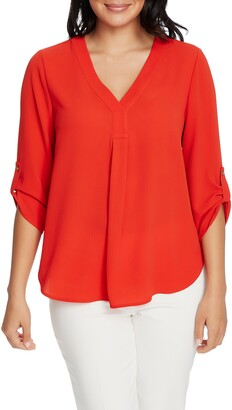 Chaus Roll Tab V-Neck Blouse