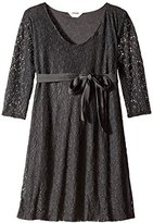Three Seasons Maternity Women's Lace 3/4 Sleeve V-Neck Dress