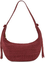 Elizabeth and James Zoe Woven Suede Hobo Bag, Bordeaux