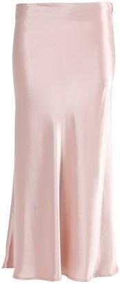 Galvan Rose Nude Valletta Satin Midi Skirt